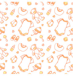 baby items in pattern of baby items vector image