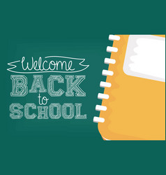 Back to school card with notebook vector