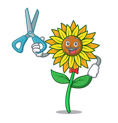 Barber sunflower character cartoon style vector