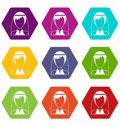 beautiful bride icon set color hexahedron vector image