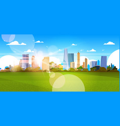 beautiful city skyline with sunlight over vector image
