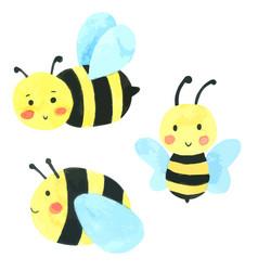 Bee watercolor cartoon set hand draw paint vector