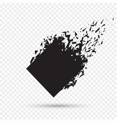 black square stone with debris isolated abstract vector image