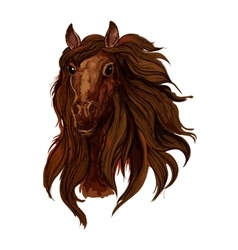 Brown chestnut running horse portrait vector