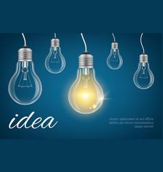 Bulbs idea background realistic lamp vector
