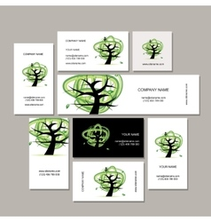 Business cards collection green tree design vector image