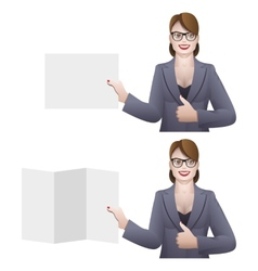 Business woman holding a banner vector image