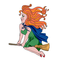 cartoon image of witch riding broomstick vector image