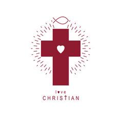 Christian cross symbol christianity god religion vector