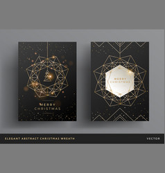 christmas card gold and black background design vector image