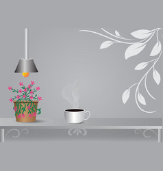 Coffee cup placed under the lamp with gray vector