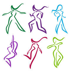 collection of abstract women in dancing and vector image