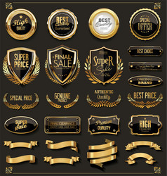 collection of elegant black and gold badges and vector image