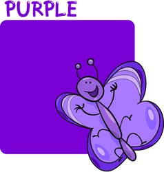 Color Purple and Butterfly Cartoon vector