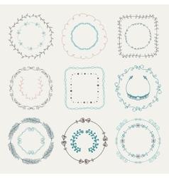 Colorful Hand Sketched Frames Borders Design vector image