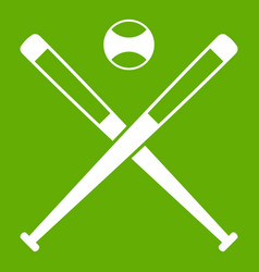 crossed baseball bats and ball icon green vector image