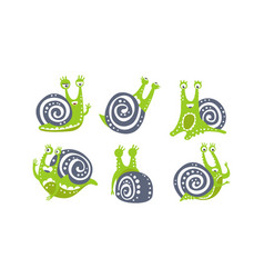 cute snail collection funny mollusk animal vector image