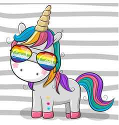 Cute unicorn with sun glasses vector