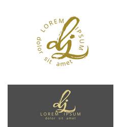d j initials monogram logo design dry brush vector image