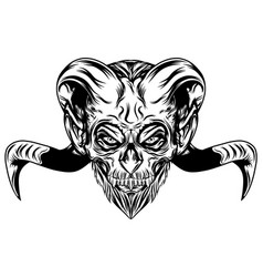 devil head with long goat horns vector image