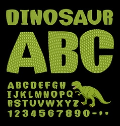 Dinosaur abc font of prehistoric reptile green vector