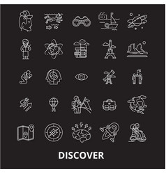 discover editable line icons set on black vector image