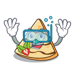 Diving crepe character cartoon style vector