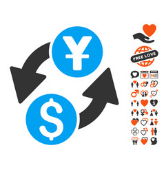 Dollar yuan exchange icon with valentine bonus vector