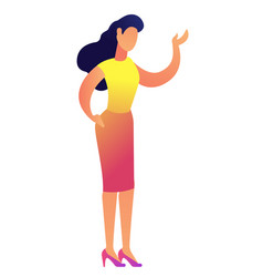 Elegant business woman pointing with hand vector
