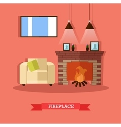 Fireplace home interior vector