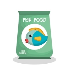 Fish food bag isolated icon vector