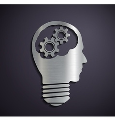 Flat metallic logo head with mechanical gears vector image