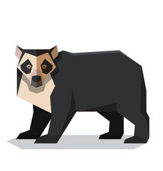 Flat polygonal spectacled bear vector