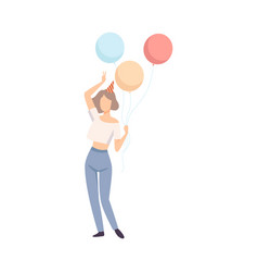 girl in a party hat and with balloons vector image