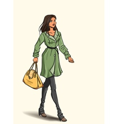 Girl in autumn dress vector image