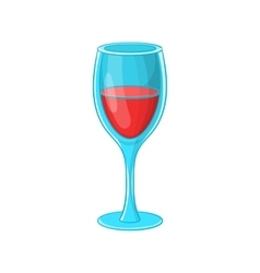 Glass of red wine icon cartoon style vector image