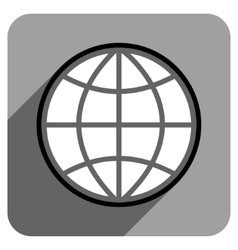 Globe Flat Square Icon with Long Shadow vector image