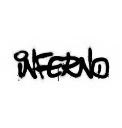 Graffiti inferno word sprayed in black over white vector