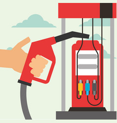 hand holding pump station gas oil industry vector image