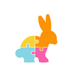 happy easter puzzle rabbit logo design vector image