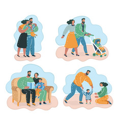 happy family mother father and children smiling vector image