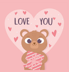 happy valentines day cute bear holding gift box vector image