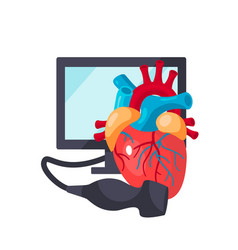 Heart ultrasound concept in flat style vector