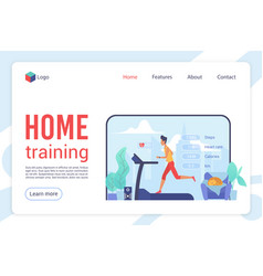 home training flat landing page template vector image