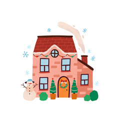 house exterior with decor at christmas time vector image