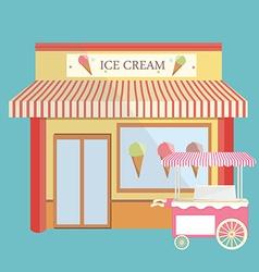 Ice cream store facade vector