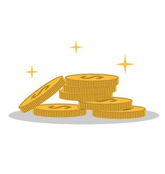 Isolated cartoon shine gold coin vector