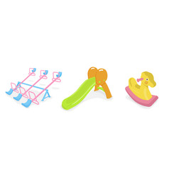 Isolated of various playground toy vector