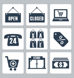 isolated shopping icons set vector image