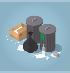 isometric unsorted trash vector image